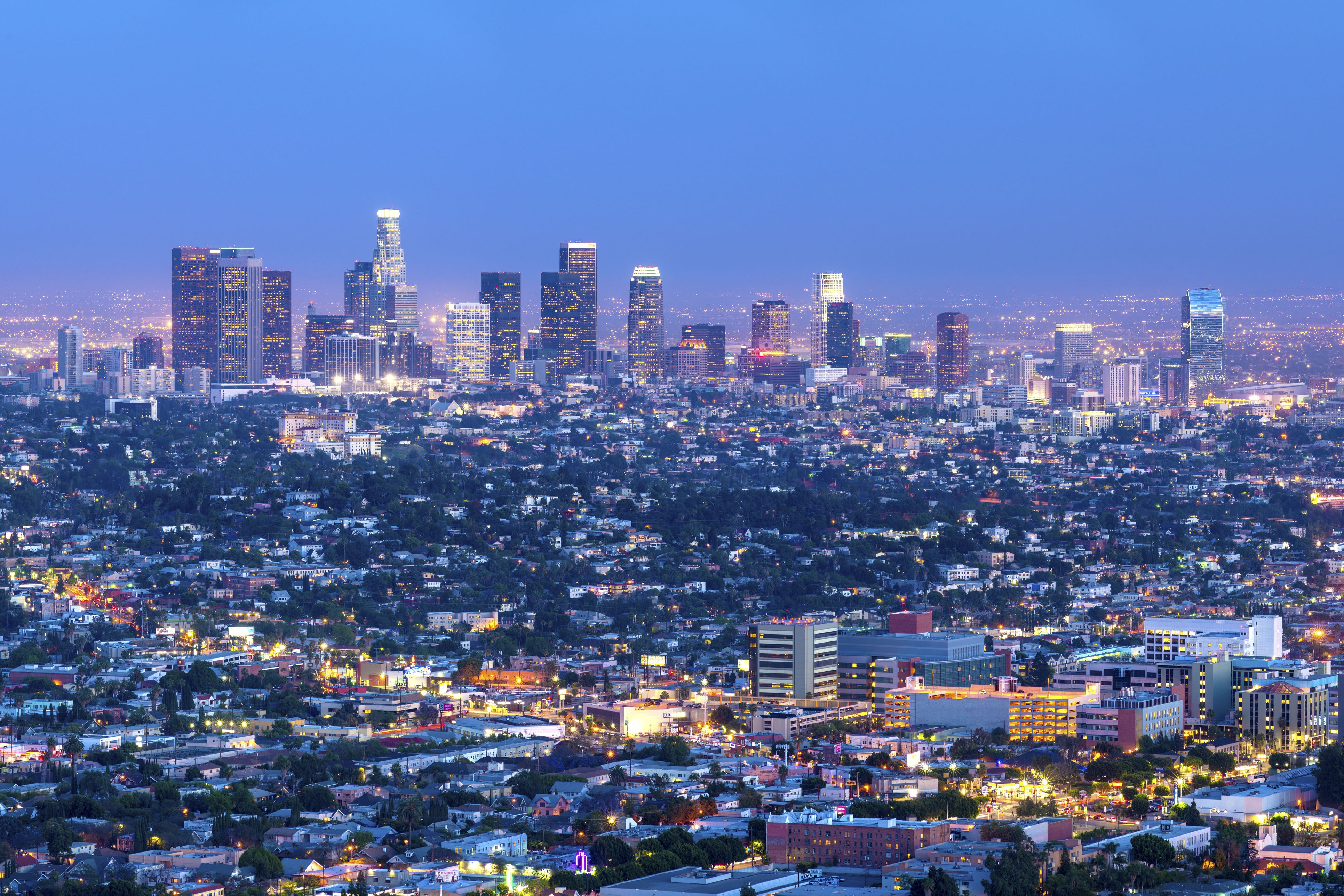 cityscape of the los angeles skyline at dusk los angeles california