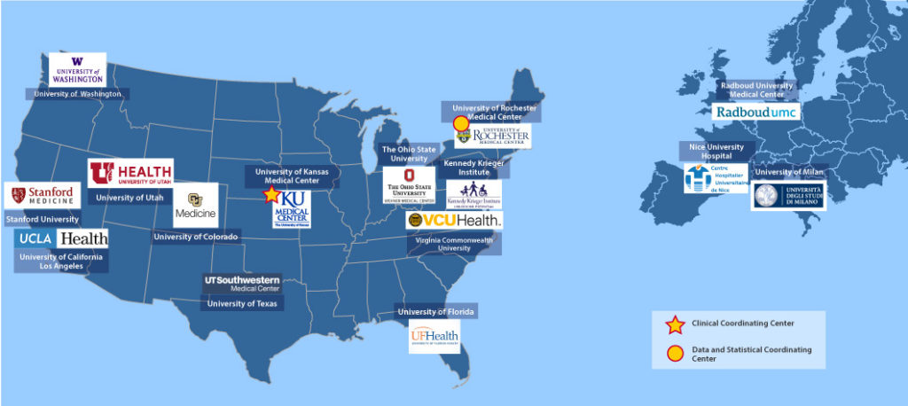 FSHD Clinical Trial Research Network map